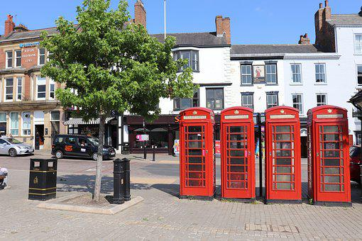 Telephone Booths, England, Red, Phone, English