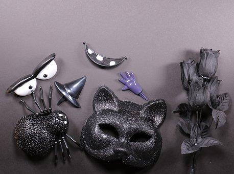Halloween, Black, Creepy, Pumpkin, Cemetery, Skull