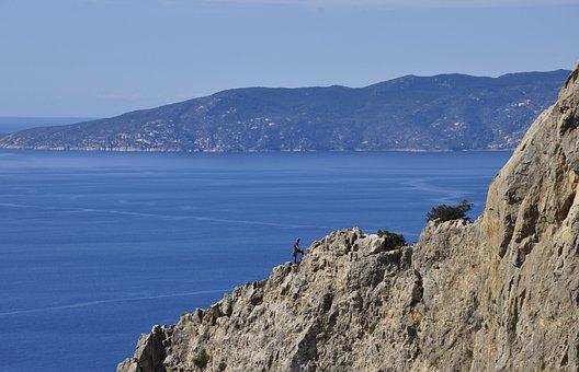 Island, Sea, Costa, Climber, Rock Climbing, Vertical