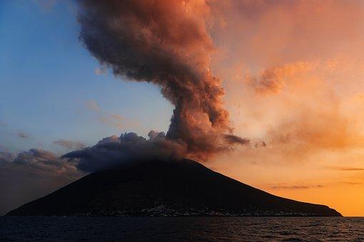 Stromboli, Italy, Sicily, Aeolian Islands, Volcano, Sea