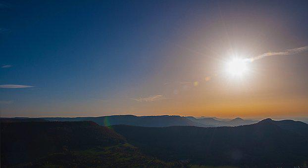 Sun, Mountains, Landscape, Sky, Nature, Sunset, Clouds