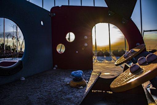 Sunrise, Playground, Neighborhood, Green, Grass, Campus