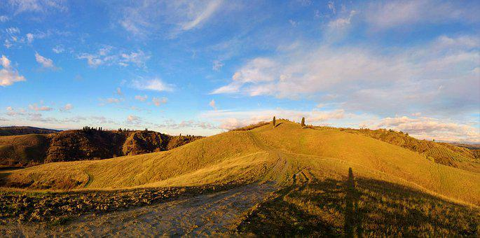 Italy, Tuscany, Landscape, Sky, Nature, Sun, Tree