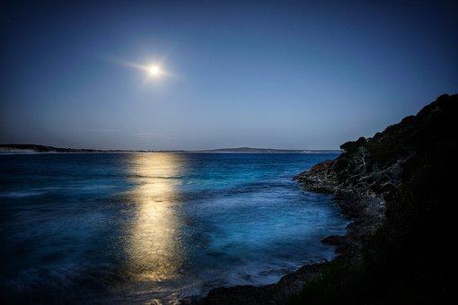 Moon Rise, Bay, Ocean, Blue, Glow, Water, Beach, Coast