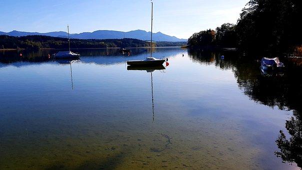 Lake, Alpine, Sailing Boat, Upper Bavaria