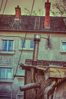 Building, Fireplace, Pipes, Evacuation, Old, Vintage