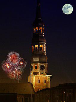 Night, Church, Germany, Light, Building, Dark