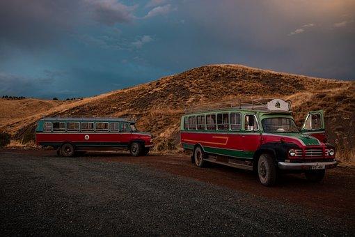 Kelokedara, Cyprus, Bus, Old, Vintage, Car, Tourism