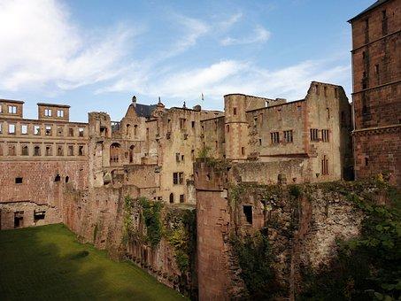 Castle, Castles, Heidelberg, Manor House, Meadow, Green