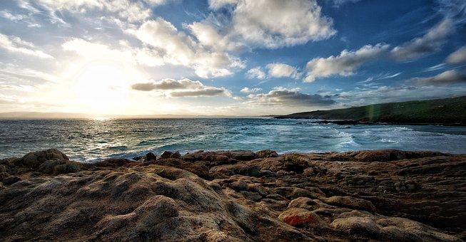 Ocean Rocks, Coast, Waves, Beach, Landscape, Sky