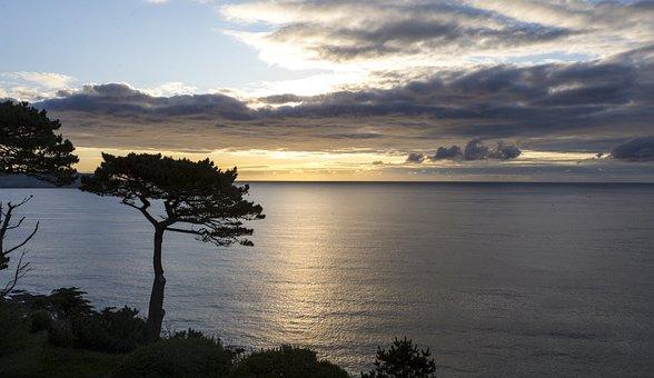 Cornwall, Roseland Peninsular, Sunrise, Cloud, Sea