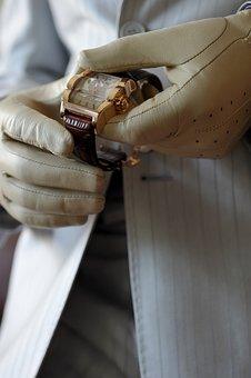 Gloves, Leather Gloves, Hands, Skin, Finger, Clock