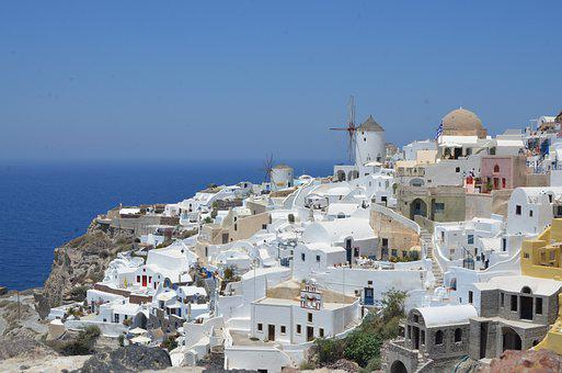Santorini, Greece, Sea, White, Cyclades, Travel