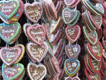 Lebkuchen, Hearts, Oktoberfest, Volksfest, Frosting