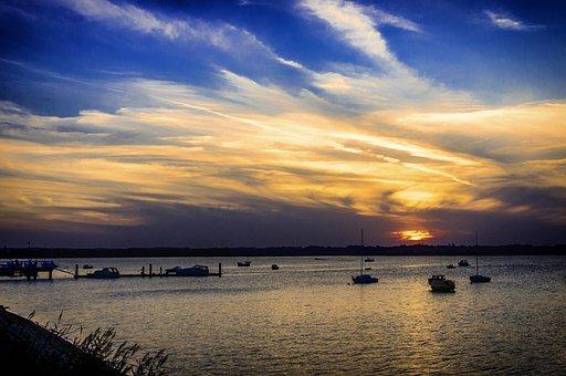 Sea, West, Sky, Clouds, Twilight, In The Evening