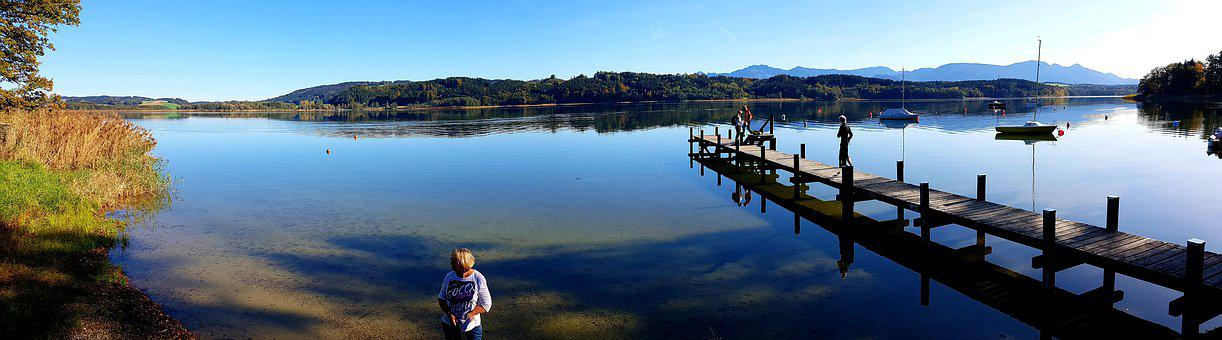 Lake, Alpine, Simssee, Autumn, Panorama, Woman, Water
