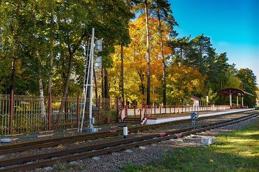Narrow Gauge Railroad, Autumn, Station, Platform
