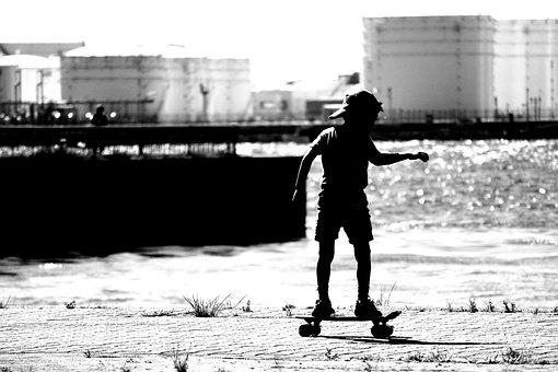 Kids, Skateboard, Sea, Summer, Landscape, Sun, Natural