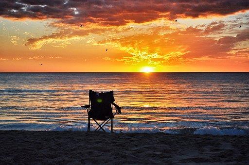 Sunset, Ocean, Chair, Sky, Sea, Beach, Water, Dusk
