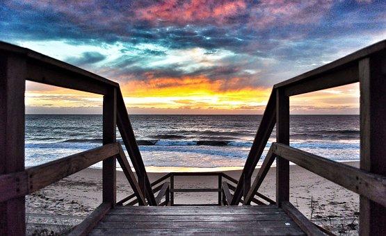 Sunset, Beach, Sea, Ocean, Water, Sky, Dusk, Nature