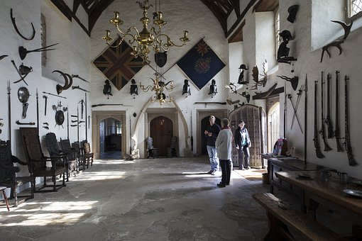 The Great Hall, Cotehele, Cornwall, Armaments, Flags