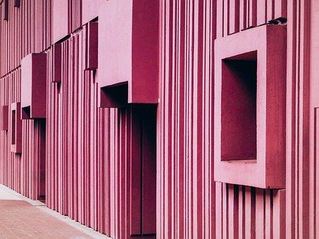 Vintage, Pink, Business, House, Building, Paris, Color