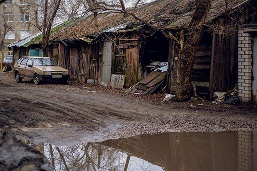 Russia, Voronezh, Lada, Yard, Garages, Ussr, Old