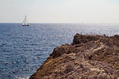 France, Antibes, Summer, Nature, Coast, Water