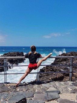 Beach, Yoga, Splits, Summer, Sea, Woman