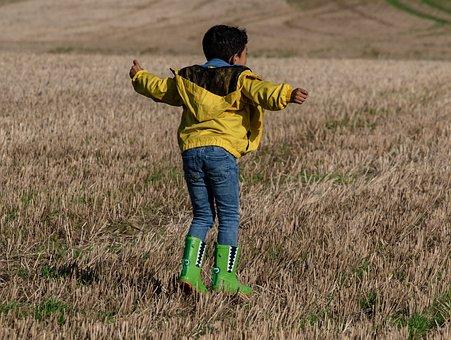 Child Running, Kid In Park, Child In Field