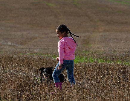 Girl And Dog In Field, Girl And Dog, Girl In Pink
