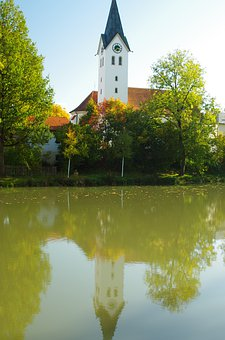 Church, Water, Lake, Landscape, Nature, Fabric Ried
