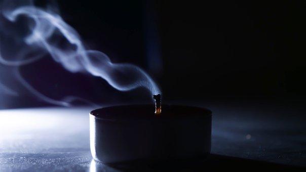 Smoke, Wick, Candle, Wax, Dark, Mood, Flame