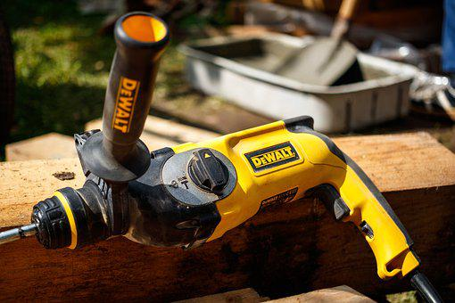 Drill, Tool, Yellow, Punch, Construction