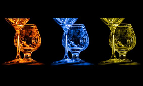 Glasses, Many, Color, Wine, Champagne, Colorful, Drink
