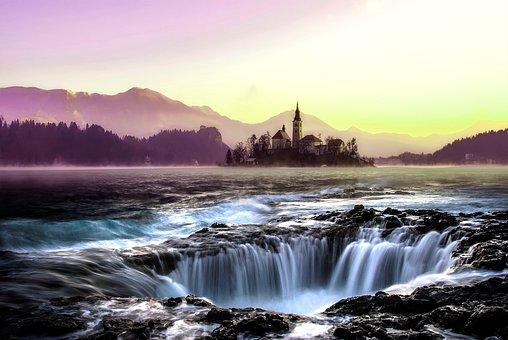 Water, Waterfall, Flow, Gorge, Gloomy, Forward, Castle