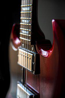Close Up, Guitar, Head, Handle, Strings, Instrument