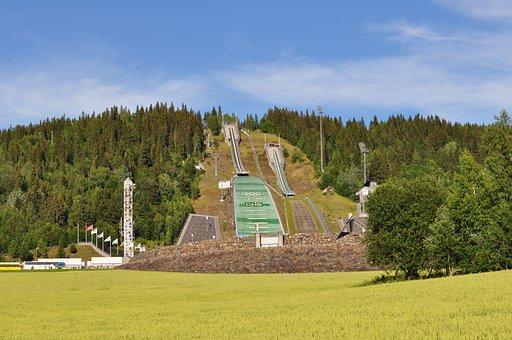 Norway, Lillehammer, Mountain, Jumping, Sport, Skiing