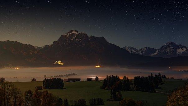 Mountains, Alpine, Lake Forggensee, Night Photograph