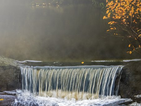 Nature, Autumn, Water, Rapids, Waterfall, River, Fog