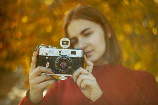 Girl, Camera, Autumn, Leaves, Yellow, Red, Mood, Stroll