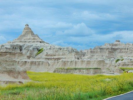Badlands, South Dakota, Scenic, Clouds, Geology