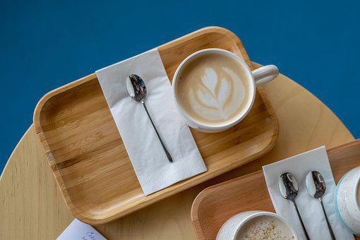 Coffee Table, Cappuccino, Spoon, Cup