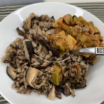 Rice, Mushroom, Food, Lunch, Eat, Meal