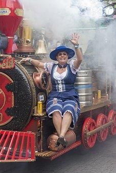 Oktoberfest, Blumenau, Parade, Woman, Dress, Dirndl