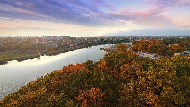 Autumn, River, Bridge, Park, Ukraine, Novomoskovsk