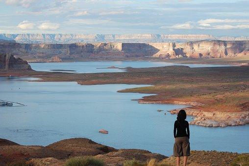 Usa, Lake, Canyon, Calm, Contemplation, Scenic, Water