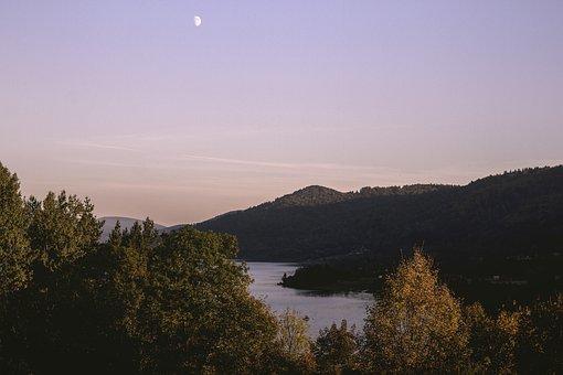 Moon, Lake, Water, Sky, Night, Landscape, Nature