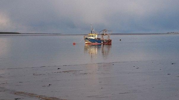Fishing Boat, Swale Estuary, Calm, Sea, Reflection