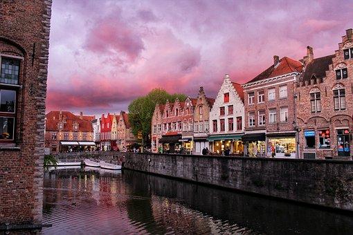 Belgium, City, Bruges, Channel, Architecture, Sky